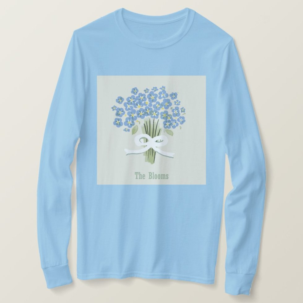 Forget Me Not Bouquet tied with a White Ribbon T-Shirt