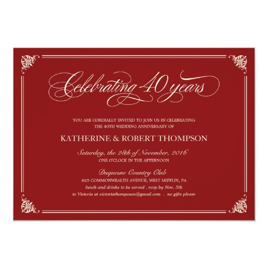 Best 40th Wedding Anniversary Invitation In Royal Blue Ivory And Gold Fl With Ribbon