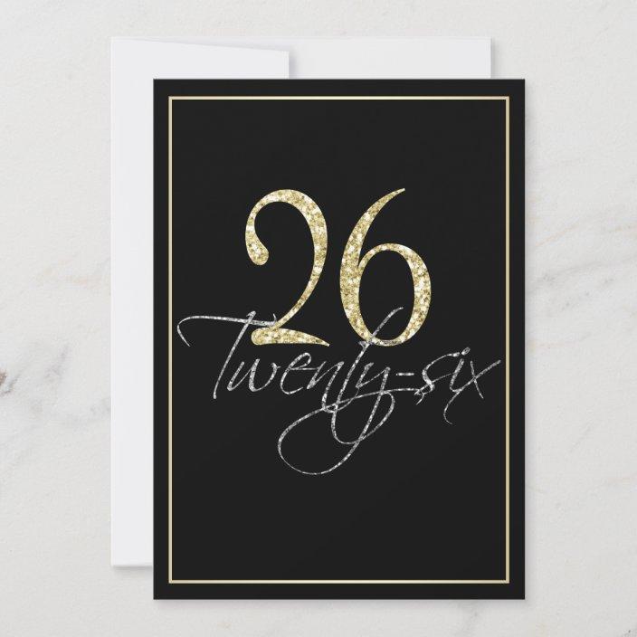 formal silver black and gold 26th birthday party invitation zazzle com