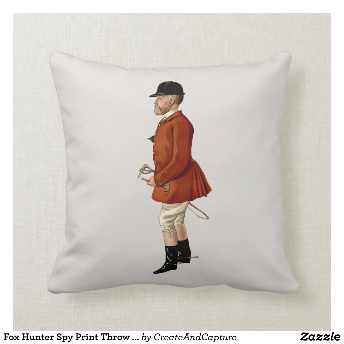Fox Hunter Spy Print Throw Pillow | Mr Hargreaves