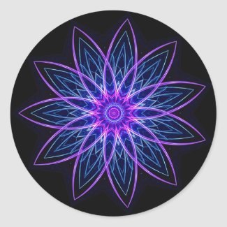Fractal Flower - Purple Sticker sticker