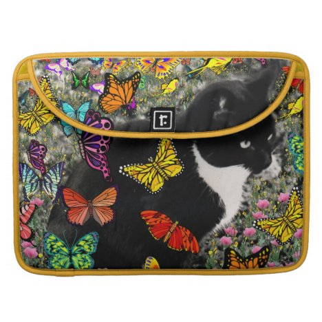 Freckles in Butterflies - Black and White Kitty Sleeve For MacBook Pro
