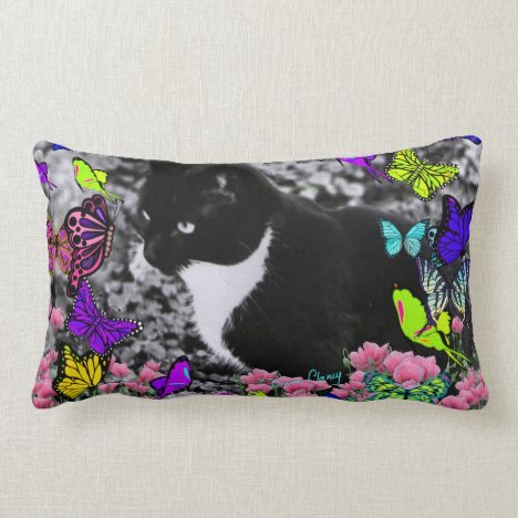 Freckles in Butterflies II - Tuxedo Cat Lumbar Pillow