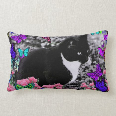 Freckles in Butterflies III, Tux Kitty Cat Lumbar Pillow