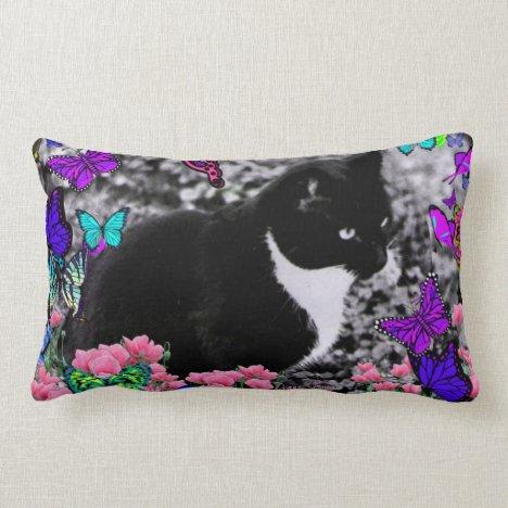 Freckles in Butterflies III, Tux Kitty Cat Lumbar Pillow