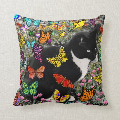Freckles in Butterflies - Tuxedo Kitty Throw Pillow