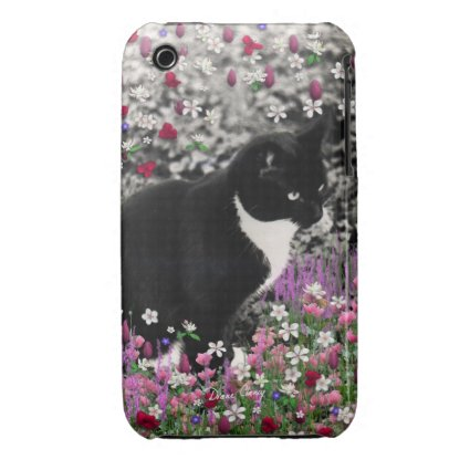 Freckles in Flowers II - Black White Tuxedo Cat iPhone 3 Cases