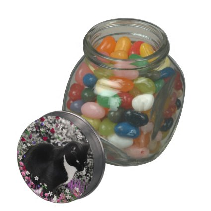Freckles in Flowers II - Tuxedo Kitty Cat Jelly Belly Candy Jars