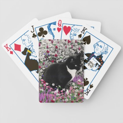 Freckles in Flowers II - Tuxedo Kitty Cat Bicycle Card Deck