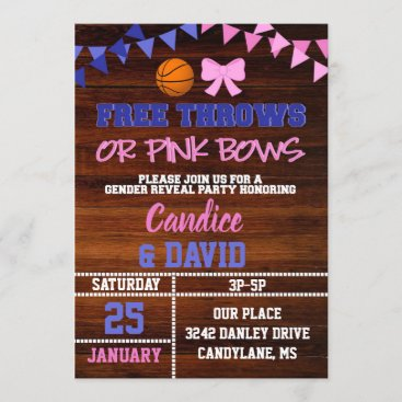 Free Throws or Pink Bows Gender Reveal Invitation