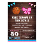 Free Throws or Pink Bows Gender Reveal Party Invitation