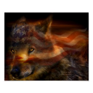Freedom Wolf Art Poster/Print