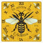 French Bee Honeycomb Family Name Elegant Honeybee Square Wallclock