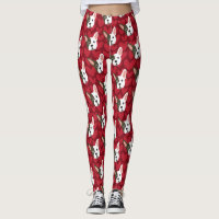 French Bulldog Cute Dog with Valentine Hearts Leggings