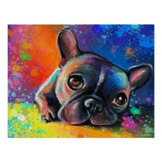 french bulldog painting Poster