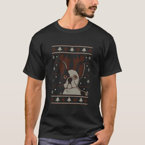 French Bulldog Ugly Christmas Pattern X Mas T-Shirt