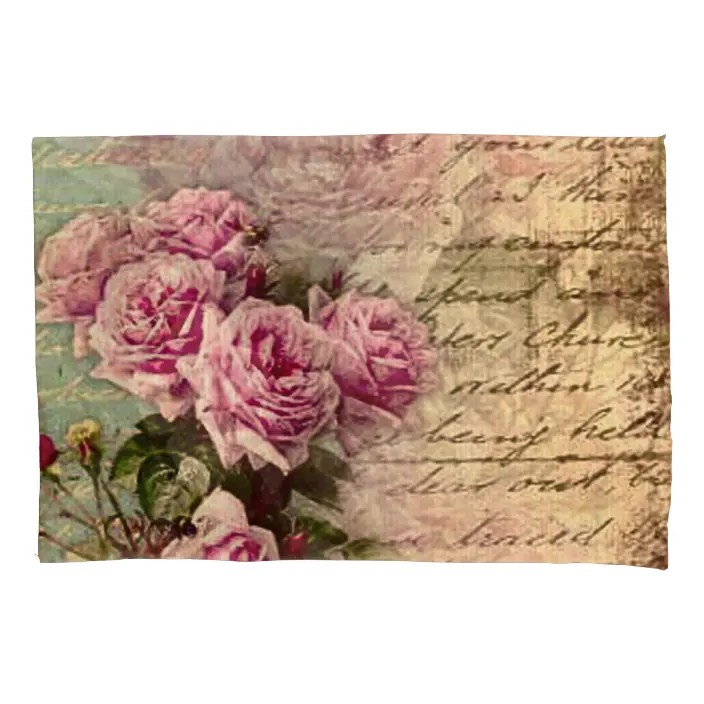 Not only does it invite the opportunity to mix and match family heirlooms with quilts, a stainless steel tea set, and ornate mirrors, but it's also a way of expressing a love of nature. French Country Chic Shabby Chic Pink Roses Flora Pillow Case Zazzle Com