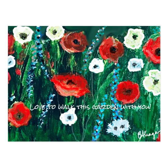 Fresh-looking Flower Field Acrylic For Her Postcard