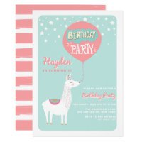 Frestive Alpaca Kids Birthday Party Invitation I