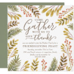Friendsgiving Autumn Greenery Watercolor Wreath Invitation
