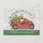 Friendsgiving Dinner Vintage Red Truck Sunflowers Invitation Postcard