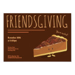 Friendsgiving Smiling Pecan Pie Slice Holiday Invitation