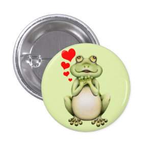 Frog Love Drawing 1 Inch Round Button