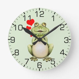 Frog Love Drawing Green Round Clock