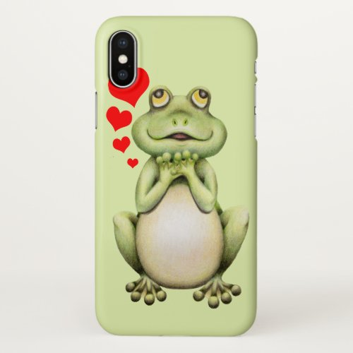 Frog Love Drawing iPhone X Case