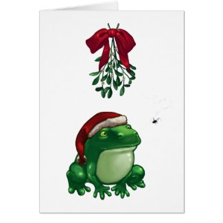 Frog Under Mistletoe Greeting Cards