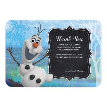 Frozen 2 - Chalkboard Olaf Birthday Thank You Invitation