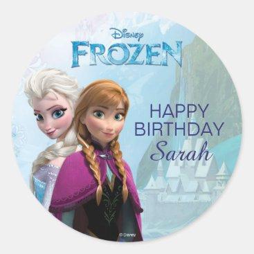Frozen Elsa and Anna Birthday Classic Round Sticker