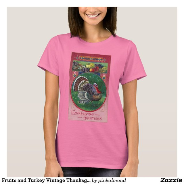 Fruits and Turkey Vintage Thanksgiving T-Shirt