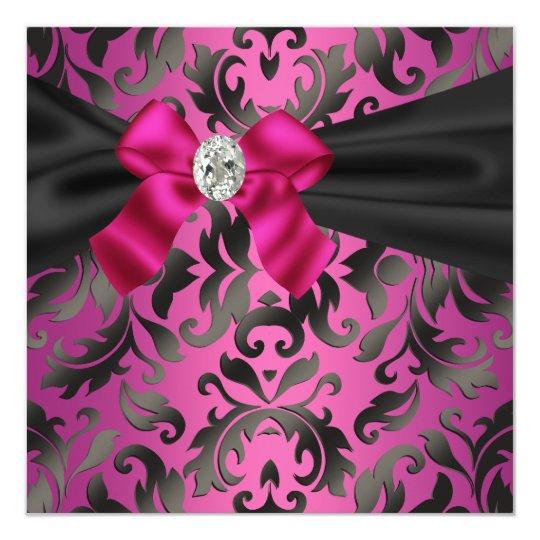 Fuchsia Hot Pink Black Damask Party Invitation
