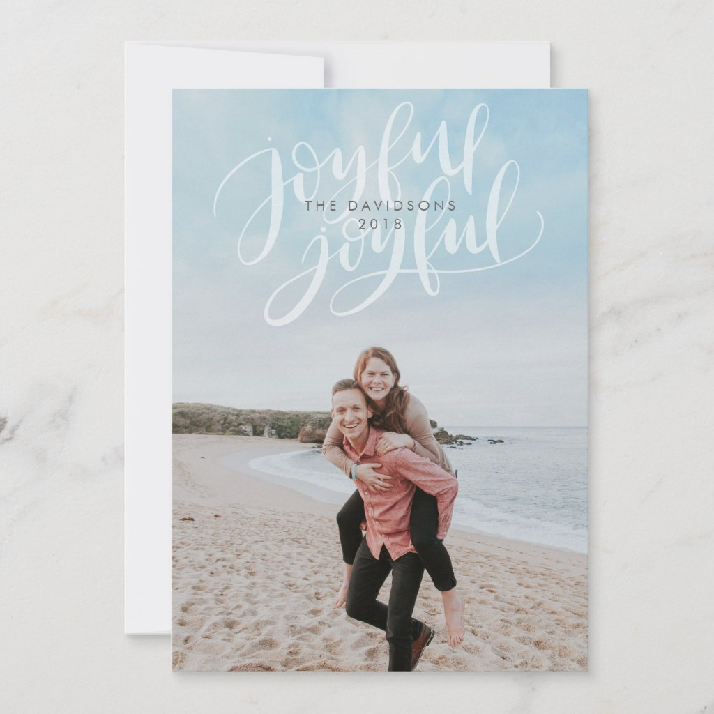 Full Bleed Holiday Photo Card with Joyful Overlay