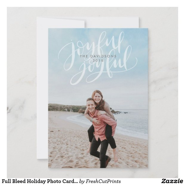 Full Bleed Holiday Photo Card with Joyful Overlay