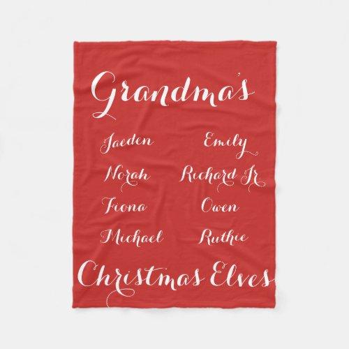 Fully Cutomizable Grandkids Christmas Elves Fleece Blanket