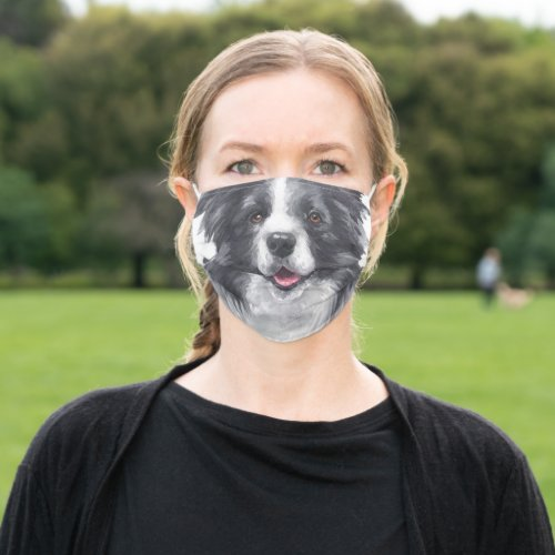 Fun Border Collie Face Personalized Cloth Face Mask
