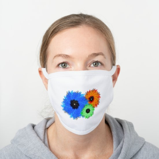 Fun Floral Abstract Colorful Pattern White Cotton Face Mask