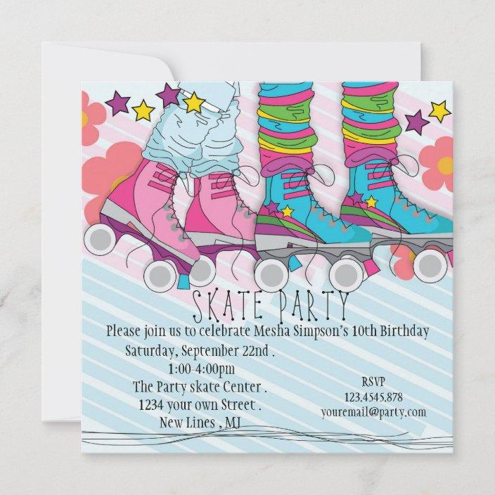 fun girls roller skating birthday party invitation zazzle com