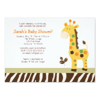 Fun in the Jungle Giraffe Baby Shower Invitation