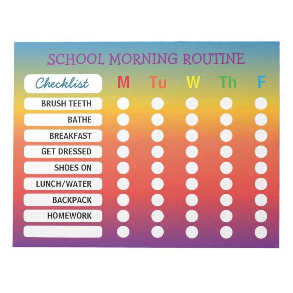 Fun Rainbow Daily Routine Checklist Notepad