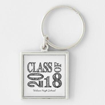 Fun & Simple Pen Sketch Class of 2018 Graduation Keychain