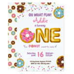 ❤️ Fun Sprinkles Donut Doughnut Girl 1st Birthday Invitation