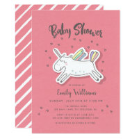 Fun Trendy Unicorn Rainbow Peach Baby Shower Card