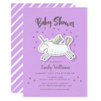 Fun Trendy Unicorn Rainbow Purple Baby Shower Card