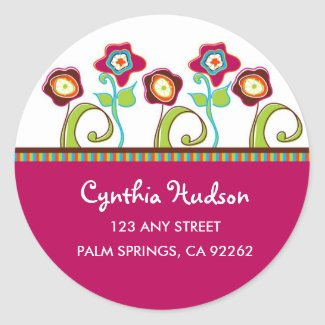 Funky Flowers Address Label Sticker