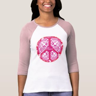 Funky Peace Sign - Pink Tee Shirts