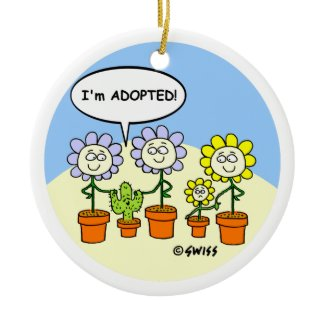 Funny Adopted Cartoon Christmas Tree Ornament ornament