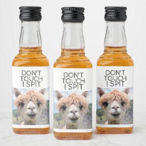 Funny Alpaca Llama Don't Touch I Spit Liquor Bottle Label